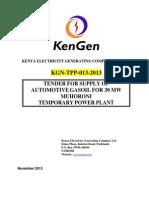 Kgn-tpp-013-2013 Muhoroni 30mw Emergency Thermal Power Plant Automotive Gas Oil Tender 2014