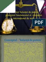 Conceptul balanței de putere- principiul fundamental al
