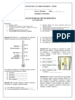 1ª AVALIAÇÃO PARCIAL DE MATEMÁTICA