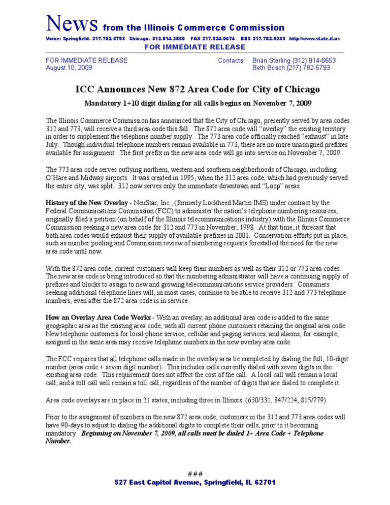 ICC announces new area code for Chicago  Telephone Numbering Plan