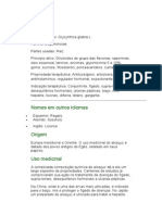 Alcaçuz - Glycyrrhiza glabra L. - Ervas medicinais - Ficha Completa Ilustrada