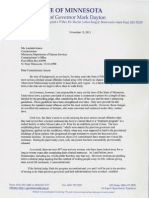 Letter from Gov. Mark Dayton to DHS Commissioner Lucinda Jesson
