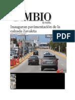 12-11-2013 Diario Matutino Cambio de Puebla - Inauguran pavimentación de la calzada Zavaleta