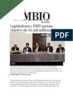 12-11-2013 Diario Matutino Cambio de Puebla - Legisladores y RMV Pactan Objetivo de 66 Mil Millones