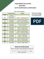 Calendario de Pre-Confirmación y Confirmación