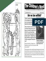 Children's Word bulletin for Sunday, November 17th, 2013