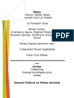 Thanksgiving Dinner Menu