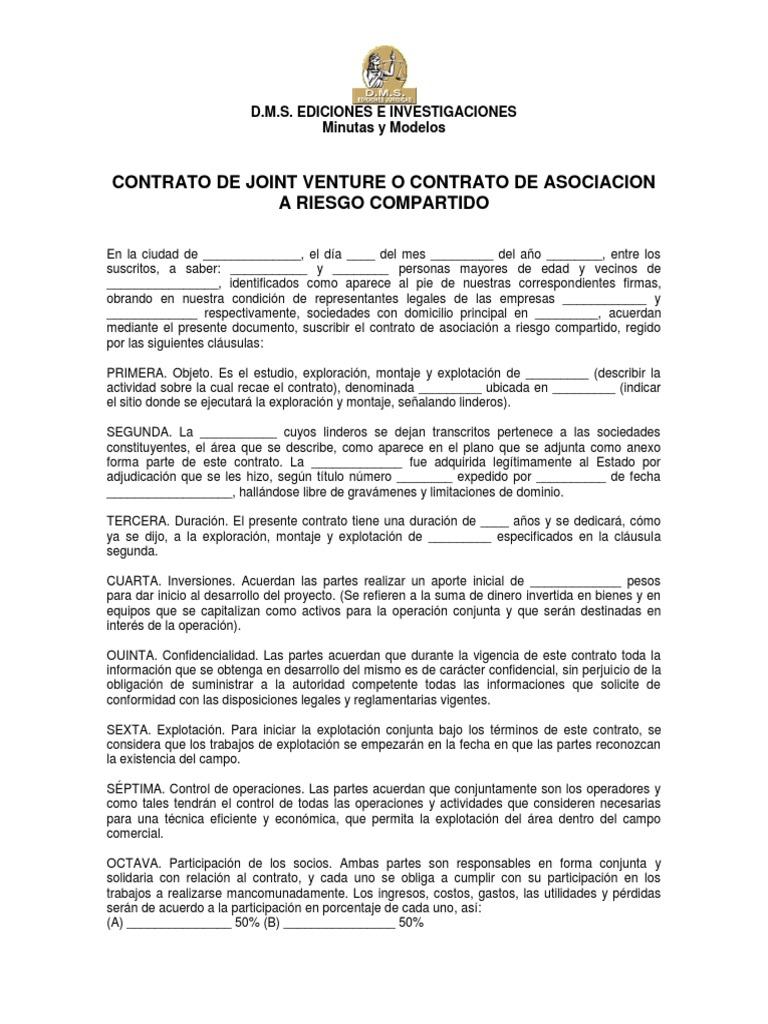 Modelo de contrato de joint venture for Modelo contrato por horas