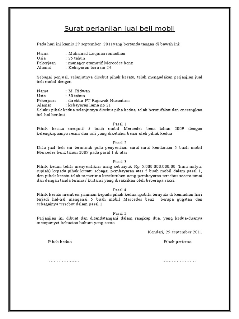 Surat Perjanjian Jual Beli Rumah Tunai Doc