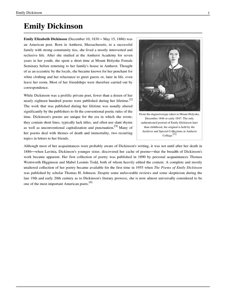 dickinson essay View essay - emily dickinson essay from english 000 at university of belgrade emily dickinson's isolation in her life and her poetry seminar paper content introduction3 1dickinsons isolation in.
