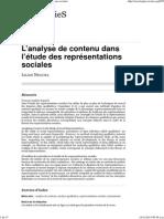 Negura Lilian L'analyse de contenu dans l'étude des représentations sociales