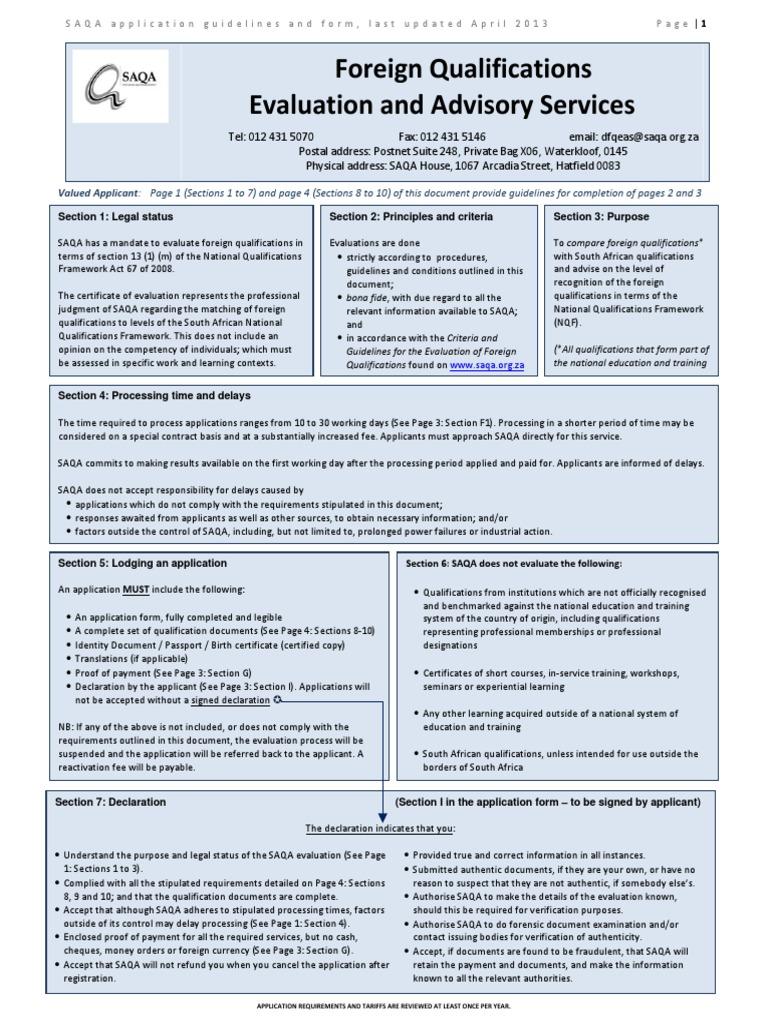 Saqa Application Form Pdf