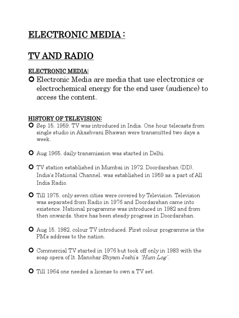 history of electronic media in india