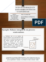 Balances Integrales en Procesos Semicontinuos y Continuos