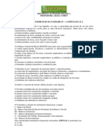 LISTA DE EXERCÍCIO DA UNIDADE IV - CAPÍTULOS 1 E 3