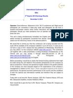 3Q13 Conference Call Transcription