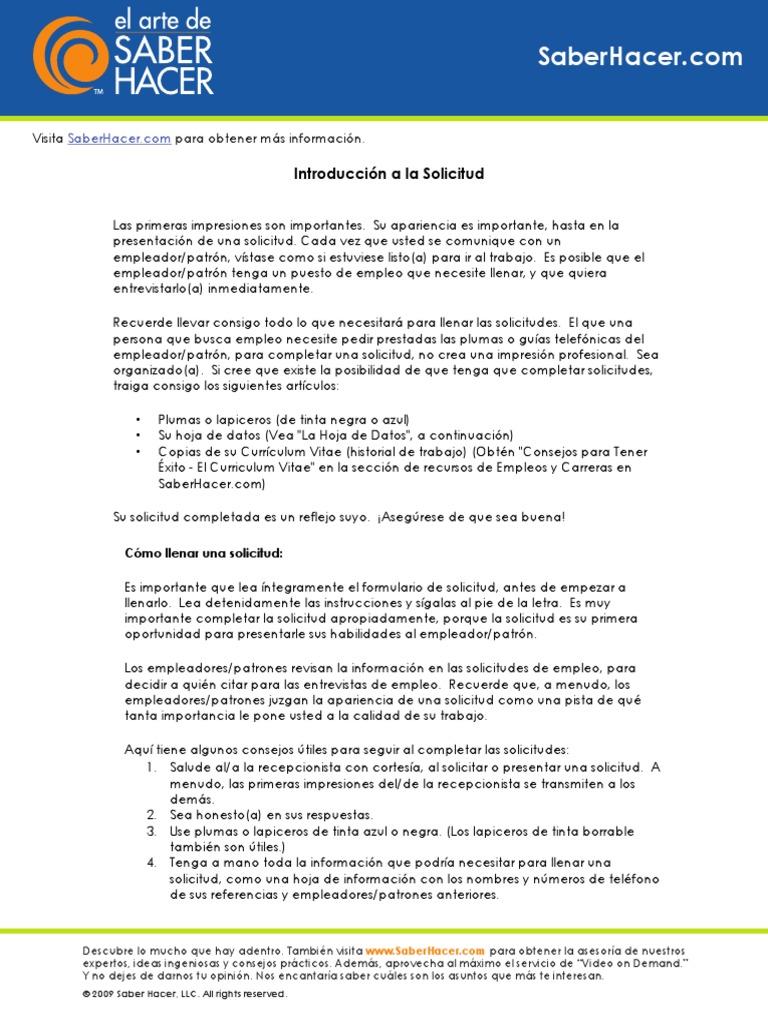 Excepcional Descargar El Formato De Currículum Para La Solicitud De ...