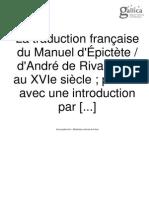 la traduction française du manuel d'épictète d'A De Riveaudeau au 16ème siècle