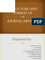 Structure and formats of journal articles