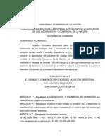 Proyecto FPV por reforma de Código Civil / Comisión Bicameral