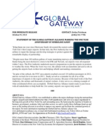 STATEMENT OF THE GLOBAL GATEWAY ALLIANCE MARKING THE ONE YEAR ANNIVERSARY OF HURRICANE SANDY.docx