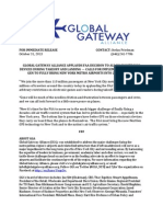 GLOBAL GATEWAY ALLIANCE APPLAUDS FAA DECISION TO ALLOW ELECTRONIC DEVICES DURING TAKEOFF AND LANDING — CALLS FOR IMPLEMENTATION OF NEXT GEN TO FULLY BRING NEW YORK METRO AIRPORTS INTO 21ST CENTURY.docx
