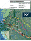 Map of proposed natural gas pipelines in Northern BC