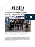 13-11-2013 Diario Matutino Cambio de Puebla - Moreno Valle Inaugura Planta Alemana Allgaier en Chachapa