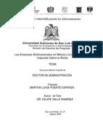 Las Empresas Multinacionales en México y la Evasión en el Impuesto de Puente Esparza