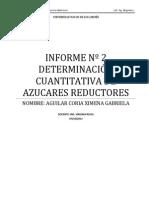 INFORME Nº 2  DETERMINACIÓN CUANTITATIVA DE AZUCARES REDUCTORES
