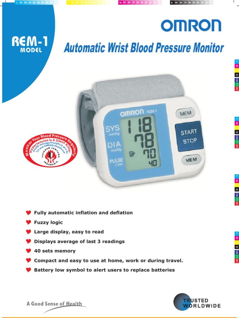 Rem 1 Automatic Wrist Blood Pressure Monitor M Odel Blood