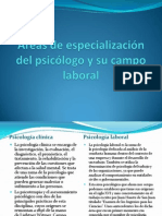 Áreas de especialización del psicólogo y su campo
