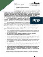 Safe Minds public statement 08/08/09