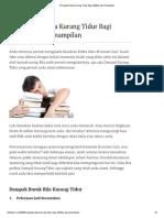 3 Dampak Utama Kurang Tidur Bagi Aktifitas Dan Penampilan