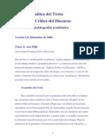 Van Dijk De la Gramática del Texto al Análisis Crítico del Discurso