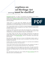 Misconceptions on National Heritage Act 2005 Must Be Clarified