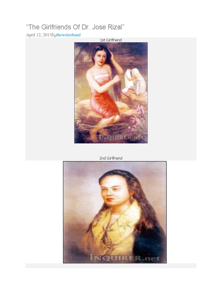 Where can I find information about the genealogy of Jose Rizal's girlfriends?