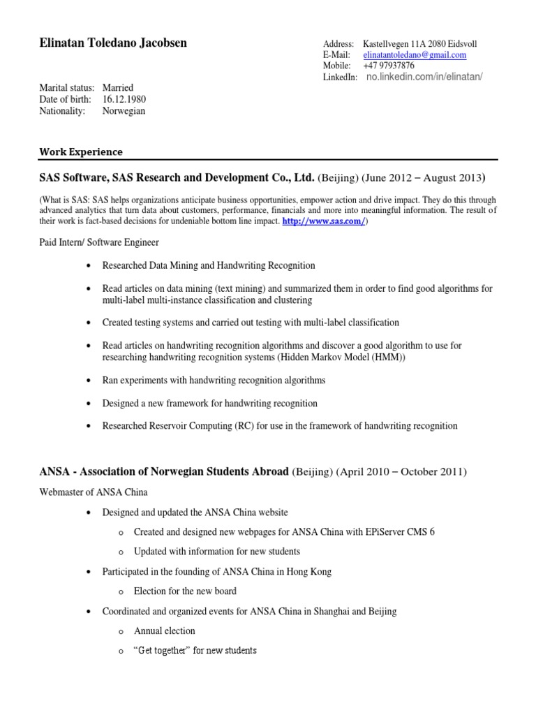 My CV | Sas (Software) | Operating System