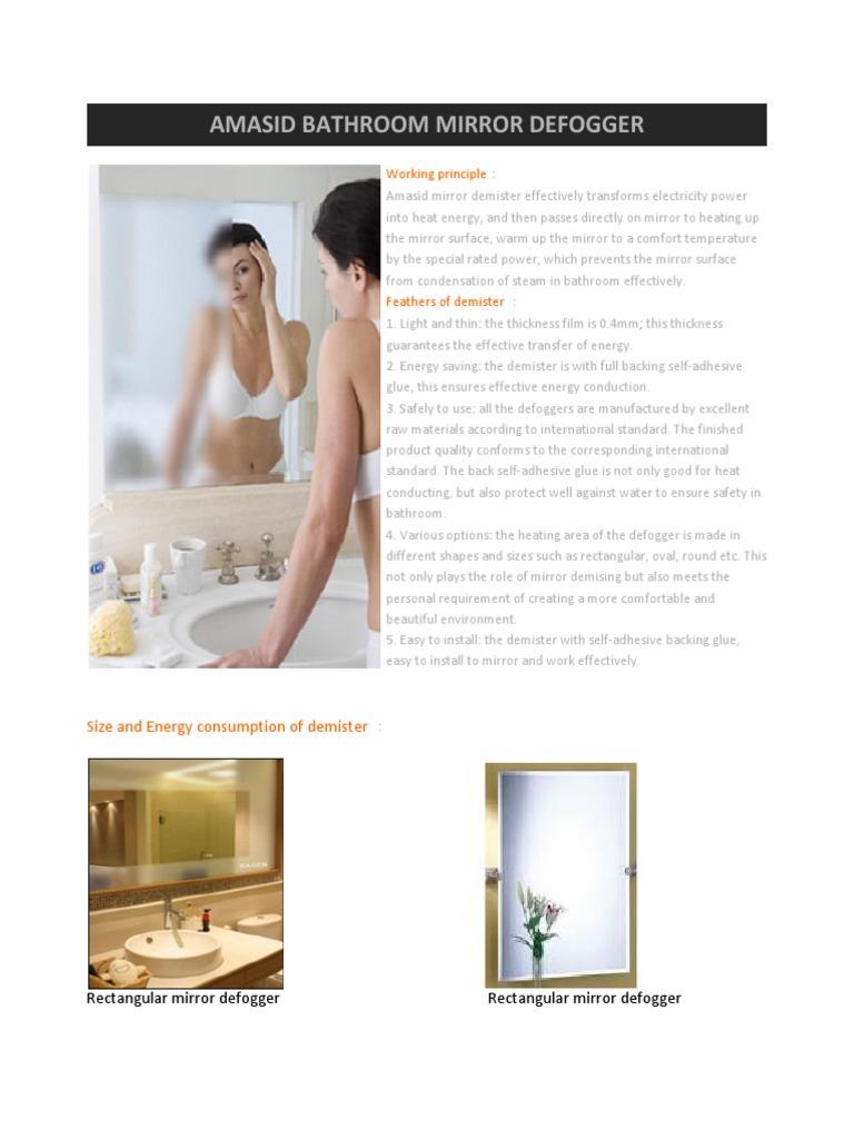 Amasid Bathroom Mirror Defogger Mirror Bathroom