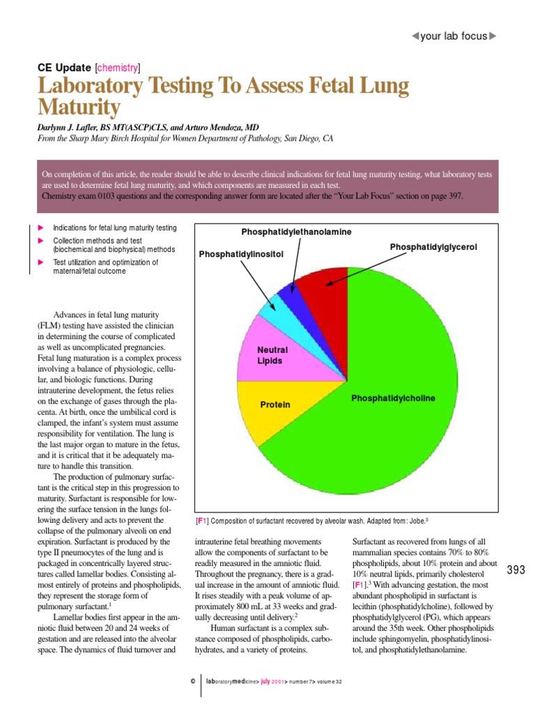 Fetal maturity Phosphatidylglycerol lung