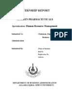 115629873 AIOU HRM Internship Report Shaheen Paharmaceuticals pakistan
