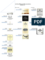 South African Winery List Recommendations September 2013