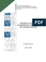 Instructivo para elaborar Proyecto de Investigación