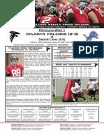 Atlanta Falcons vs. Detroit Lions Preseason Game 1
