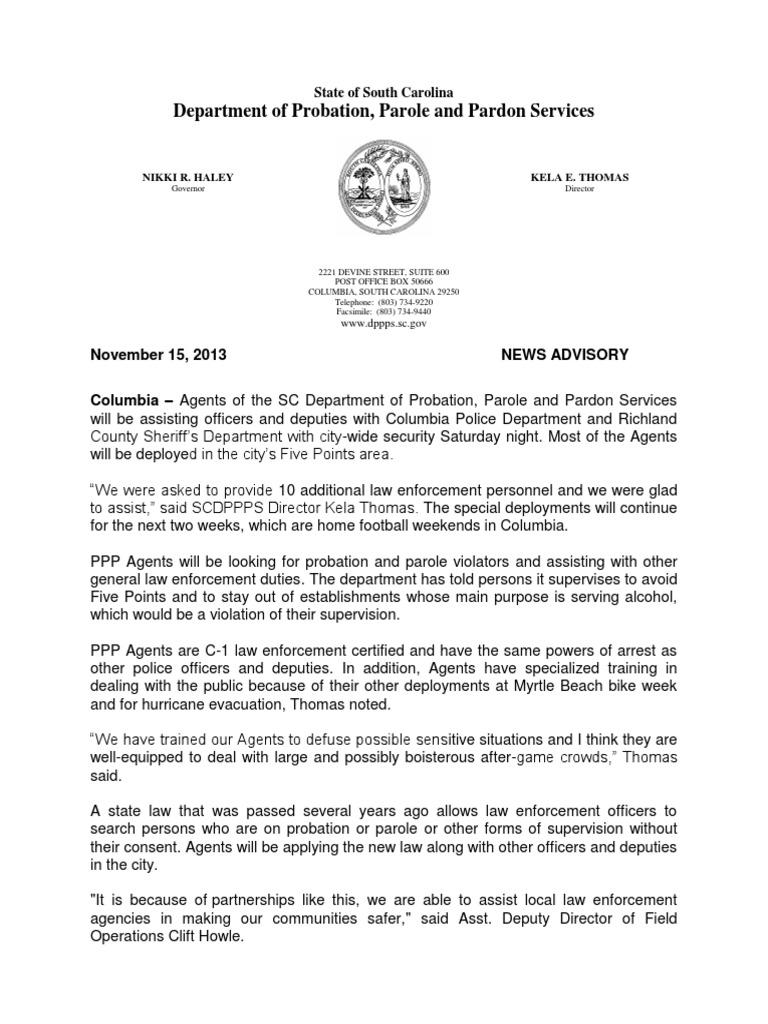 5 Pts  Deployment News Release Advisory   Probation   Parole