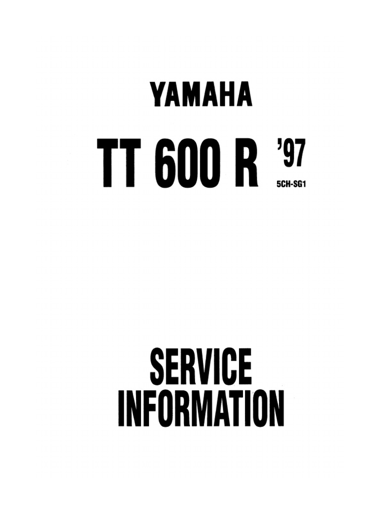 Yamaha TT600R Werkstatthandbuch