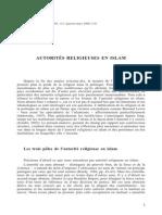 Zeghal Article Autorites Religieuses en Islam