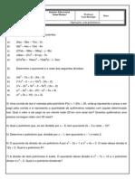 Lista de exercícios - Divisão de polinômios