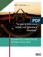 Resumen de La Iniciativa de Reformas Fiscales 2014