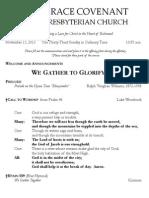 Worship Bulletin November 17, 2013